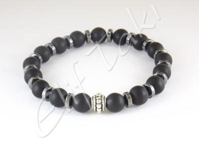 Erkek Bileklik Mat Siyah Cam Taş BB1102