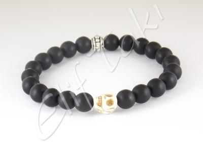 Erkek Bileklik Mat Siyah Cam Taş BB1108