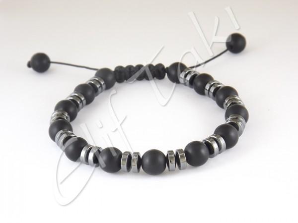 Erkek Bileklik Mat Siyah Cam Taş BB1202