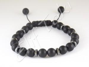 Erkek Bileklik Mat Siyah Cam Taş BB1203