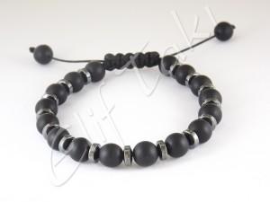 Erkek Bileklik Mat Siyah Cam Taş BB1204