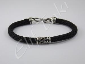 Erkek Bileklik Gümüş ve Siyah ESB1006