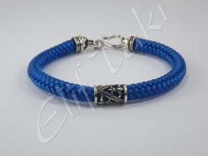 Erkek Bileklik Gümüş ve Mavi ESB1007